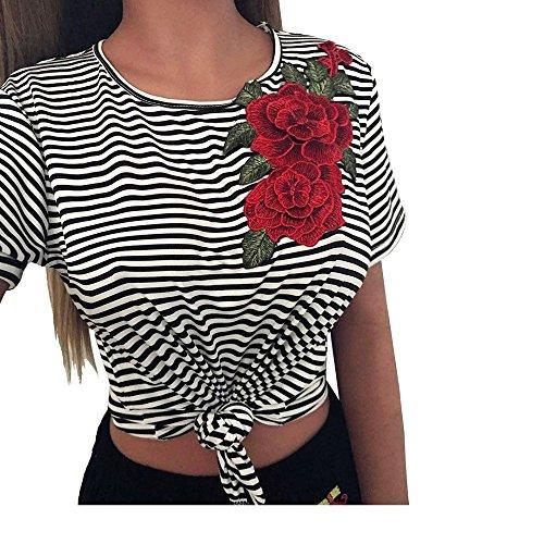 Rayures Sexy Tops Chemise Appliques Femmes Blouse Courtes Rose Trydoit T Manches Shirt wpROqH1