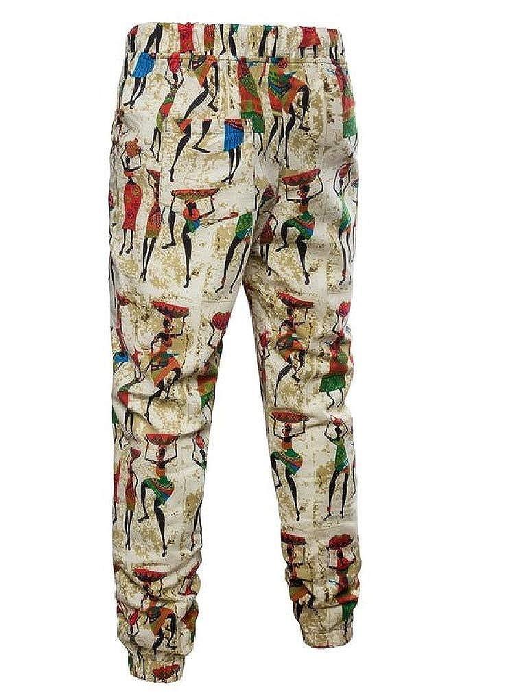 Unastar Mens Cotton Linen Flower Print Elastic Drawstring Flyaway Pants