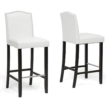 Awesome Amazon Com Baxton Studio Bar Stool 2 Piece Set White Dailytribune Chair Design For Home Dailytribuneorg
