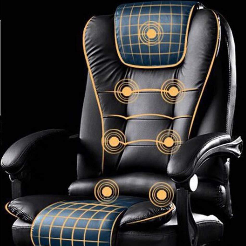 DHR Stolar kontor svängbar stol med 7 massagelägen verkställande räfflad extra vadderad kontorsstol 360° rotationsstol ergonomisk dator skrivbordsstol PU (färg: Brun) Rosa