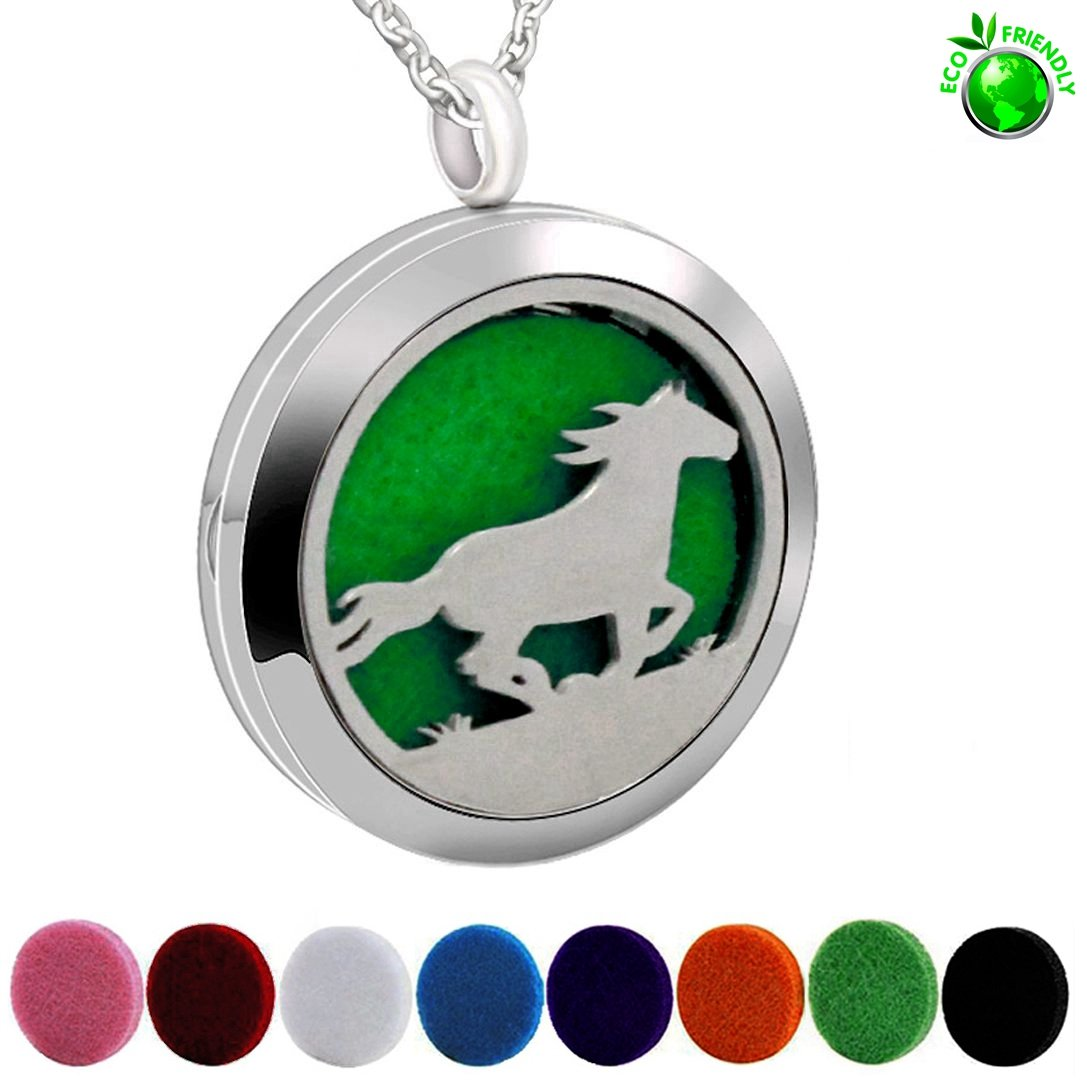 Popeoiuh Essential Oil Diffuser Necklace,Perfume Stainless Steel Aromatherapy Horse Locket Pendant with 24'' Chain & 8 Pads, Jewelry Gift for Women Men Boys Girls Kids by Popeoiuh (Image #2)