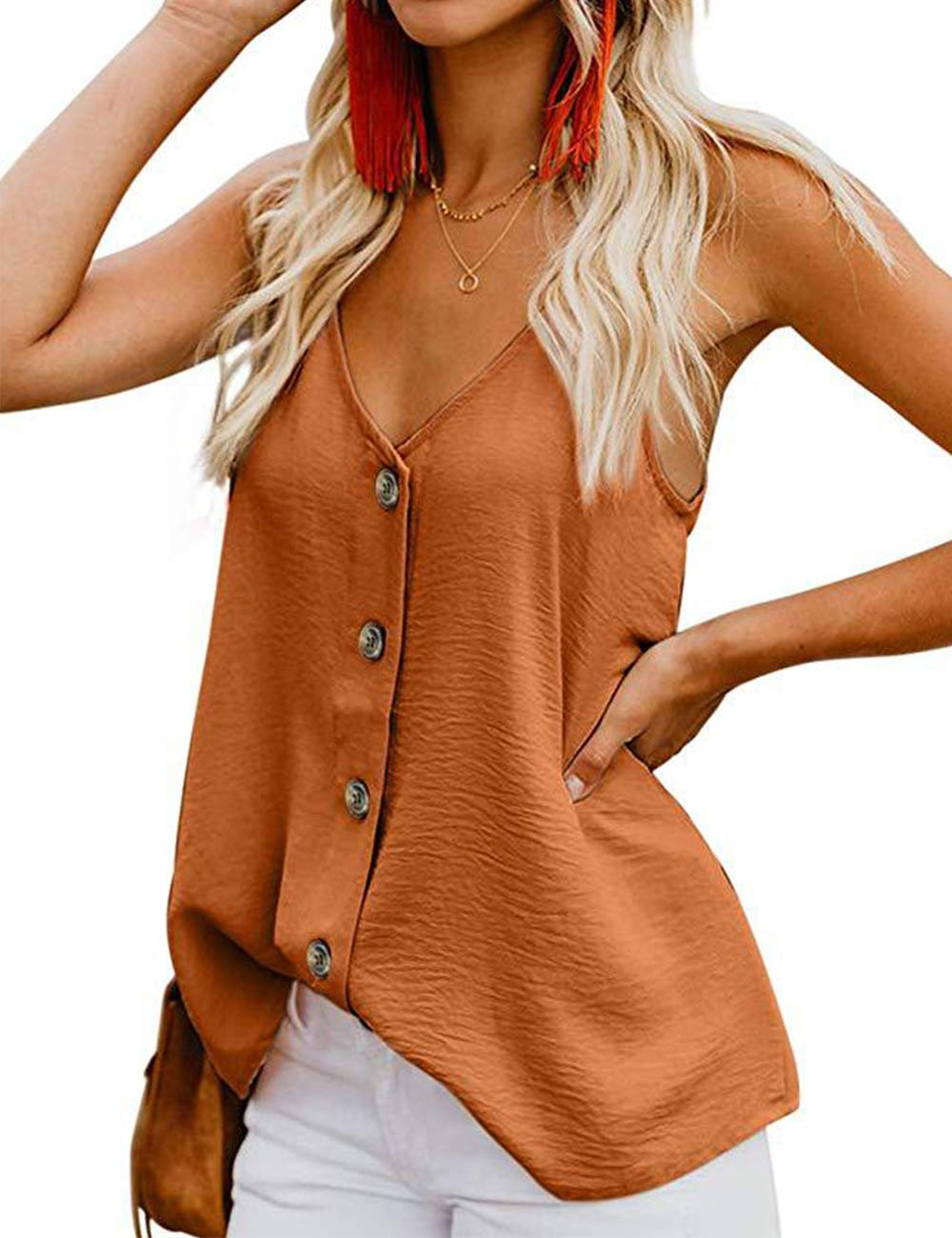 RSM &CHENG Women's Button Down V Neck Strappy Tank Tops Loose Casual Sleeveless Shirts Blouses(Brown,M)
