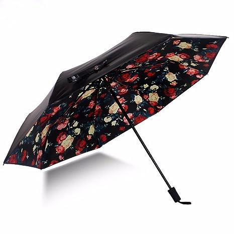 Paraguas - Classic Black Umbrella, Doble Capa De Pegamento Negro, Sombrilla, Paraguas Plegable