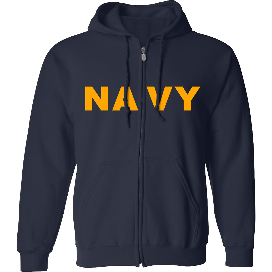 Navy NAVY Full-Zip Hooded Sweatshirt with gold print PA-1159