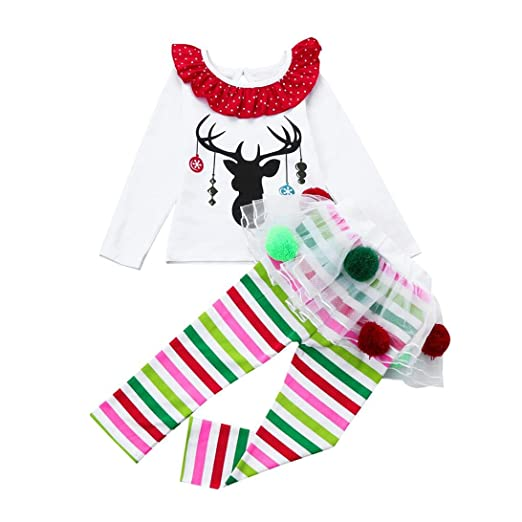 8255d14865ec Amazon.com  KONFA Christmas Girls Deer T-shirt+Striped Tutu Pants ...