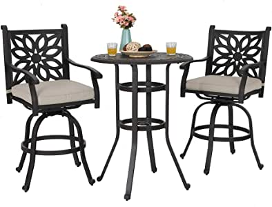 PHI VILLA Outdoor Cast Aluminum Bistro Swivel Height Bar Stools and Table Furniture Set of 3 (Black)