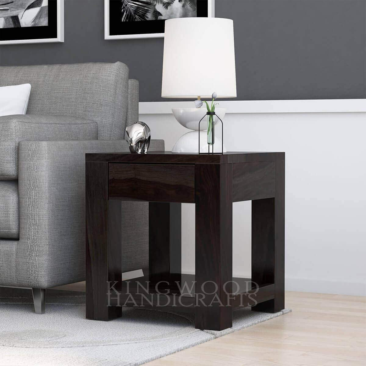 Kingwood Single Drawer Side End Table in Sheesham Wood with Walnut Finish - Size 16 x 14 x 20 Inches