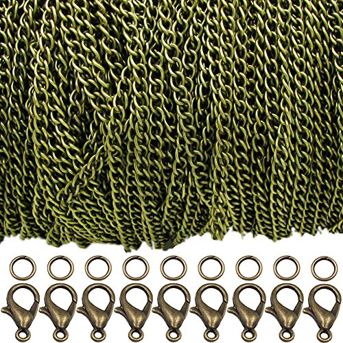 WUBOECE 39 Feet Curb Chain Necklace Bulk Cable 2.5mm Width with 30 Lobster Clasps and 100 Open Jump Rings for Jewelry Making, Bronze