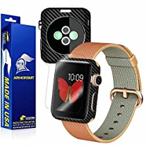 ArmorSuit MilitaryShield for Apple Watch 42mm Screen Protector (Series 2) + Black Carbon Fiber Skin Back Protector w/ Lifetime Replacements - Front Anti-Bubble Ultra HD Shield