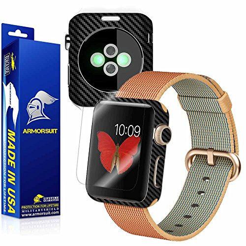 ArmorSuit MilitaryShield - Apple Watch 42mm (Series 2) Black Carbon Fiber Skin Back Protector Film + Anti-Bubble HD Clear Screen Protector For Apple Watch 42mm (Series 2) by ArmorSuit