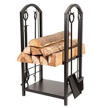 Amazon.com : Fireplace Log Rack, 4 Tools All-In-One Heavy Duty ...