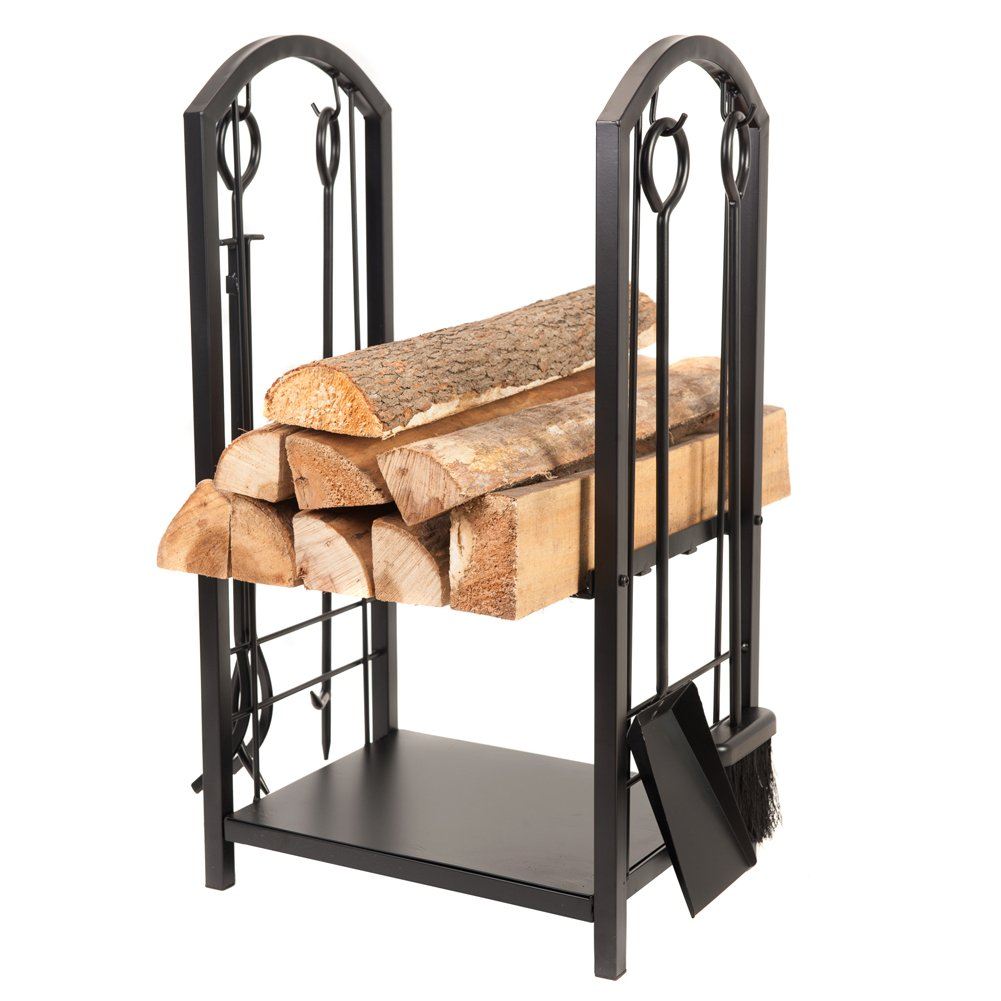 Fireplace Log Rack,4 Tools All-In-One Heavy Duty Hearth Indoor Outdoor With Fireplace Tools Set, 18''Wide x 27.5''Tall Log Holder