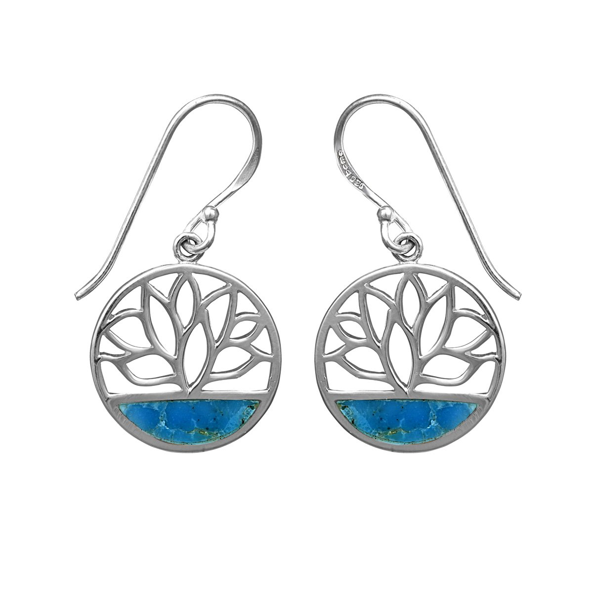 925 Sterling Silver Turquoise Lotus Flower Dangle Earrings For Women