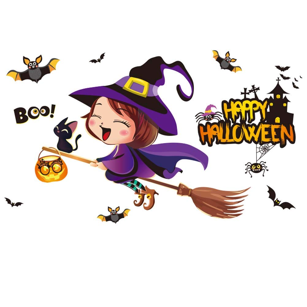 iwallsticker Happy Halloween Pumpkins Spooky Cemetery Witch Girl and Bats Tomb Wall Decals Window Stickers Halloween Decorations for Kids Rooms Nursery Halloween Party