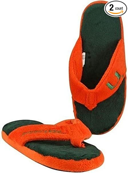9fcb3113294d8 Forever Collectibles Miami Hurricanes NCAA Licensed Women s Flip Flop Thong  Slipper Adult Sizes ...