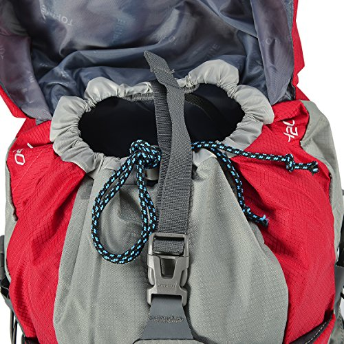 TOFINE External Frame Backpacks Hiking Backpacking with Rain Cover Red 32 Liter