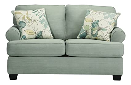 Ashley Furniture Signature Design - Daystar Loveseat with 2 Accent Pillows - Contemporary - Seafoam