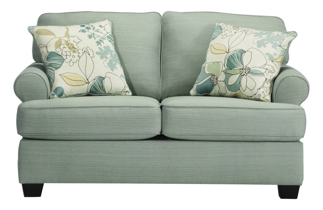 Ashley Furniture Signature Design - Daystar Loveseat with 2 Accent Pillows - Contemporary - Seafoam by Signature Design by Ashley (Image #1)