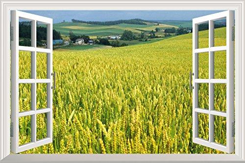 Yellow Wheat Field Open Window Mural Wall Sticker