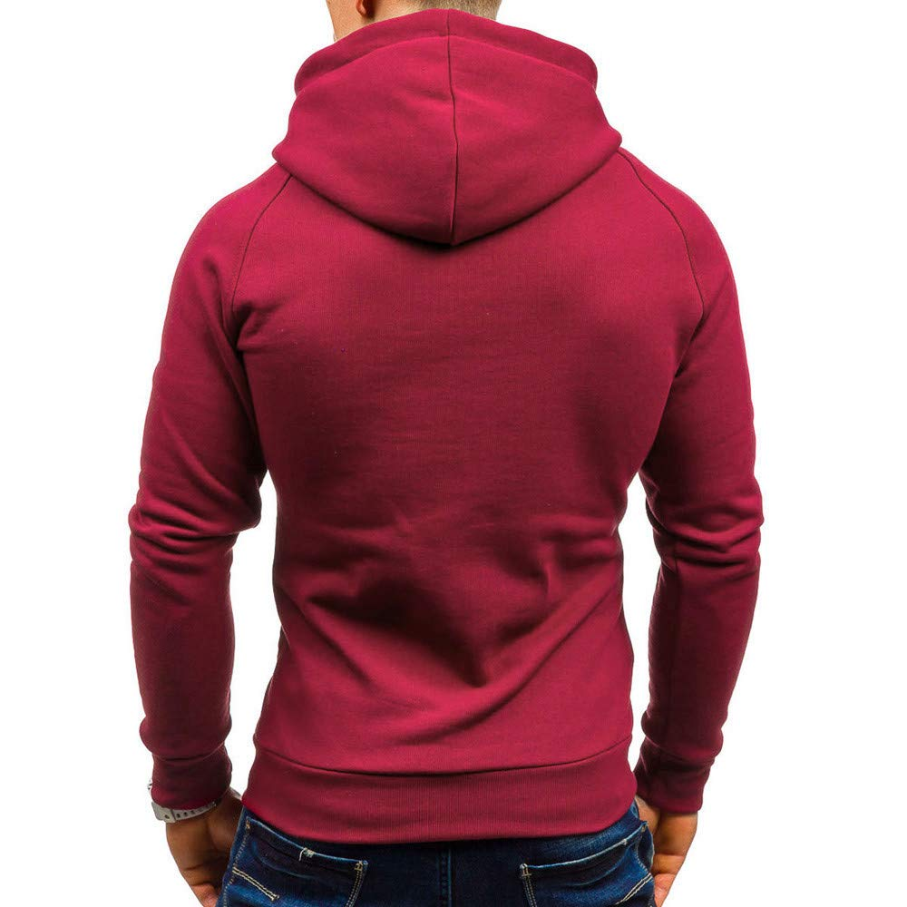 Bolayu Fashion Mens Autumn Casual Solid Long Sleeve Hoodie Sweatshirt Top Outwear