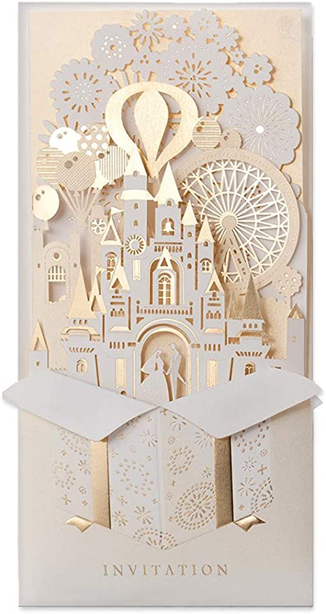 50//100 Glitter Wedding Invitation Personalized Printing Cards Kit Laser Cut Card
