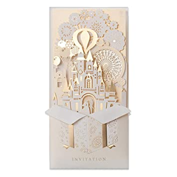 f0584cf8d696 JOFANZA 50 Pieces Laser Cut Wedding Invitations Cards 3D Fairy Gold Gilding  Bride and Groom in