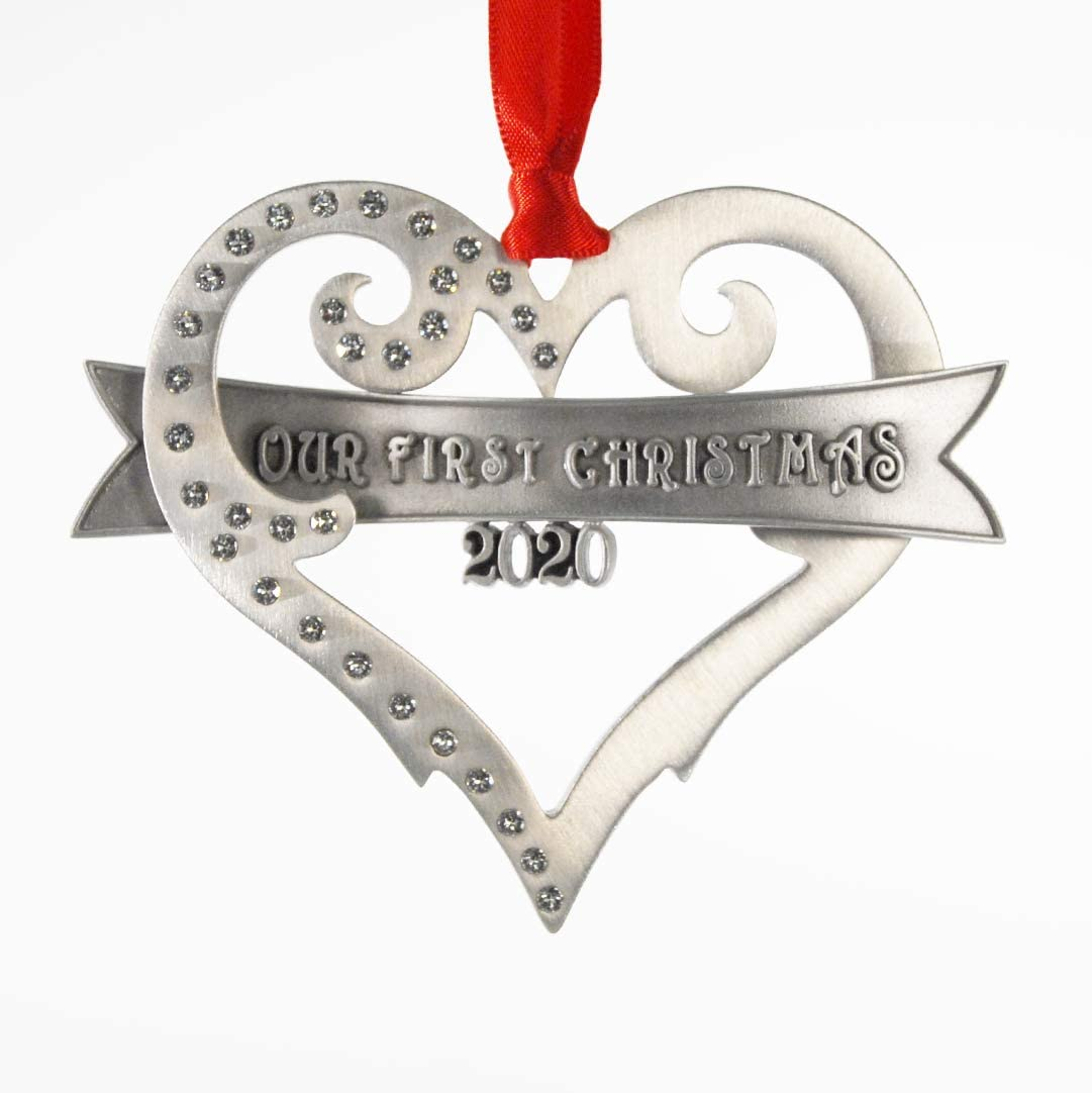 2020 Our First Christmas Ornament Brushed Pewter with Austrian Crystals Made in USA
