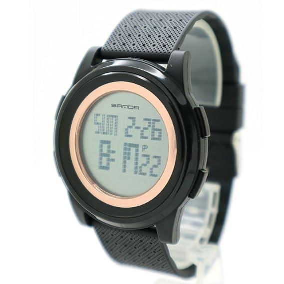 samda Hombres Digital deportes reloj LED delgado reloj digital resistente al agua reloj de pulsera banda de silicona con alarma Cronómetro Relojes: ...