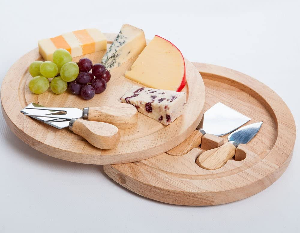 Round Slide Out Cheese Board And Knife Set Amazon Co Uk Kitchen Home