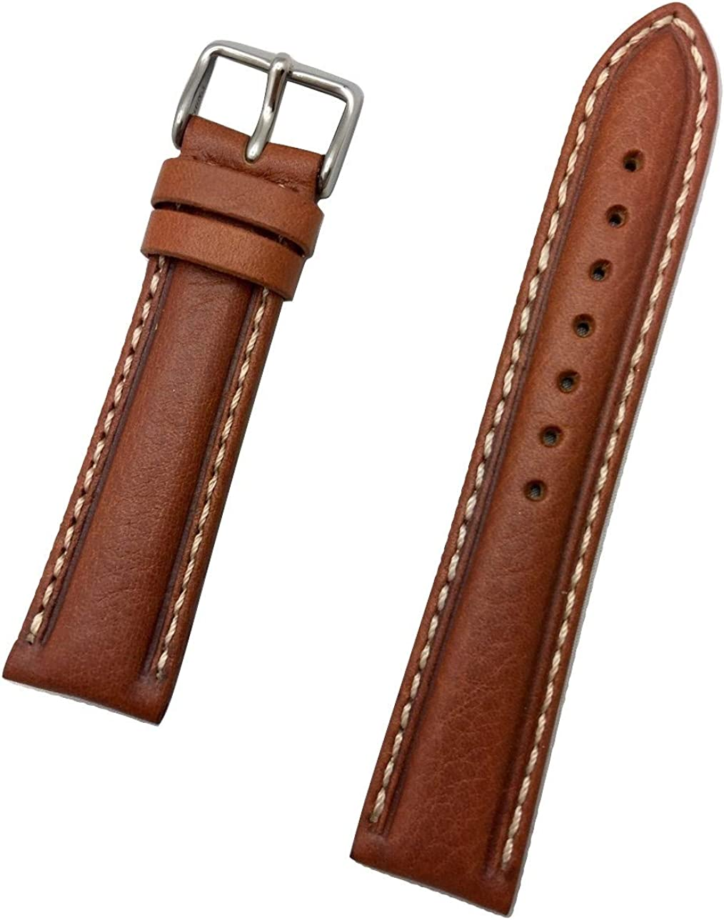 20mm Honey Brown Genuine Leather Watch Band | Center Padded Replacement Wrist Strap with Creamy White Stitching that brings New Life to Any Watch (Mens Standard Length)