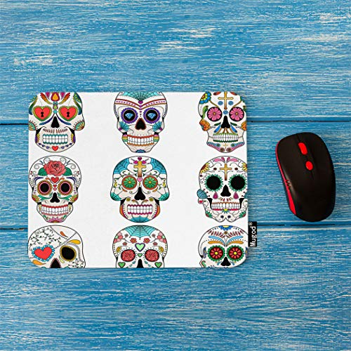 Mugod Sugar Skulls Mouse Pad Halloween Dead Day Colorful Sugar Skulls Decor Gaming Mouse Pad Rectangle Non-Slip Rubber Mousepad for Computers Laptop 7.9x9.5 Inches ()
