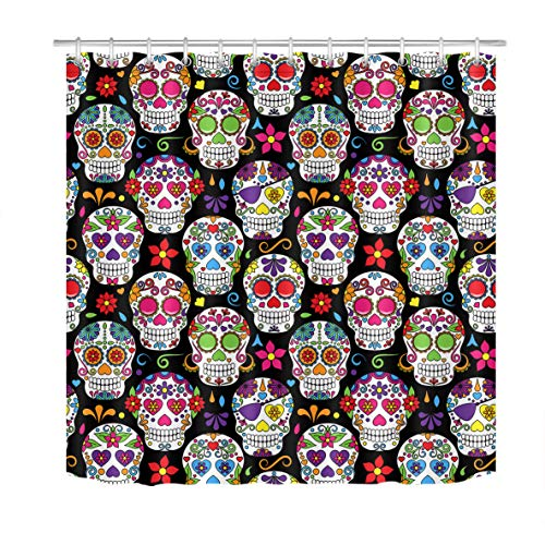 LB Day of The Dead Sugar Skulls Shower Curtain,Fabric 60 x 72 Inches Fun Shower Curtain for Kids Bathroom,Black