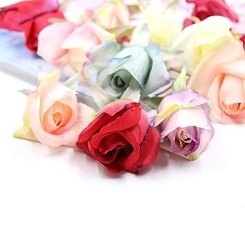 Amazon.com: Flores artificiales flores falsas rosa de cabeza ...