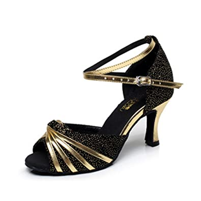 Image Unavailable. Image not available for. Color  GIY Women s Latin Salsa  Ballroom Heel Dance Sandals Glitter Morden Tango Ladies Cuban Dancing Shoes 48cc46d7f2c6