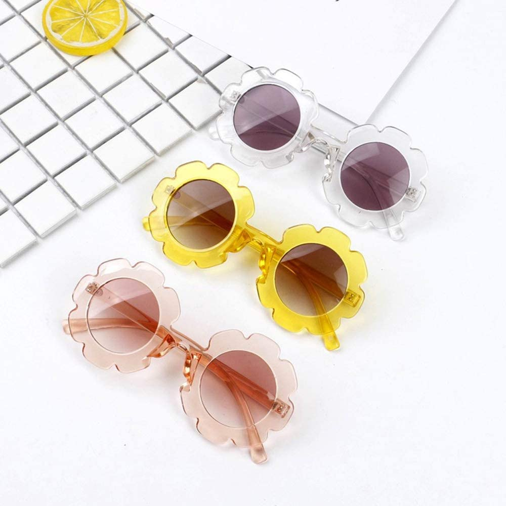 Stylish Round Flower Sunglasses Anti-UV Party Photography Outdoor Beach Colorful Eyewear for Unisex Baby Kids Children