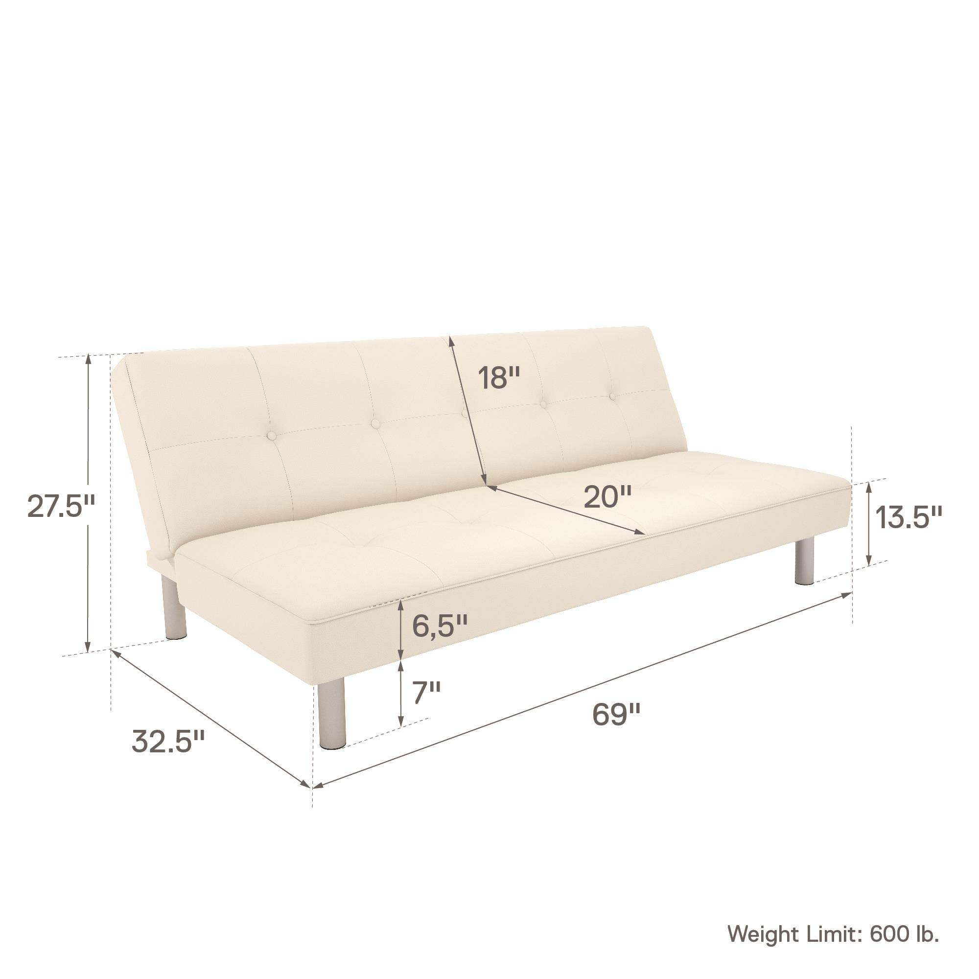 DHP Nola Futon Couch with Tufted Faux Leather Upholstery, Modern Style, White Faux Leather by DHP (Image #8)