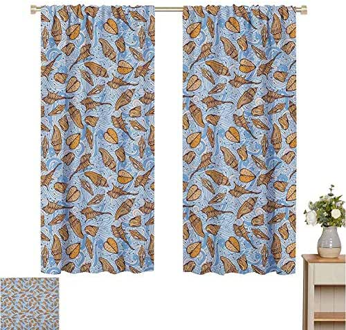 June Gissing Sea Shells Curtain Panels Swirled Abstract Background with Aquatic Elements Maritime Themed Illustration Fashion Darkening Curtains W52 x L39 Multicolor
