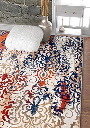 "Well Woven Ipek Watercolor Damask Beige w/Blue Splash Orange Vintage Floral European Lattice Area Rug 8 x 11 7'10"" x 10'6"" Neutral Modern Soft Plush"