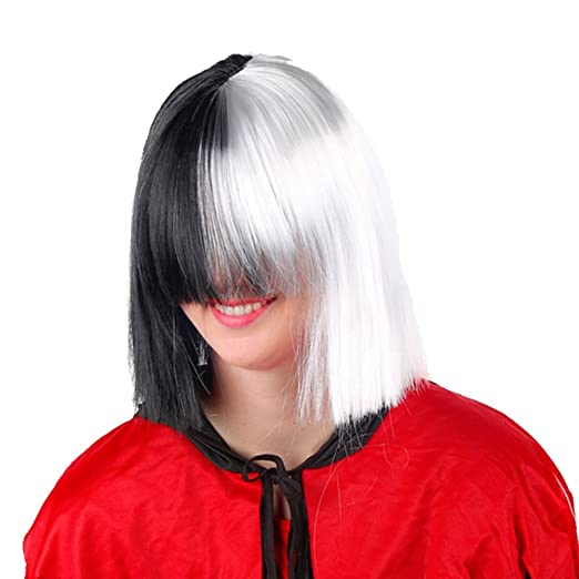 Expression Gifts Cosplay SIA Costume Wig Long Bangs Two Tone Half Black White Adult Size