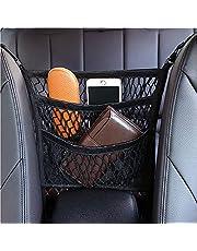 Car Mesh Organizer Handbag Holder, 3-Layer Netting Pouch Back Organizer Driver Storage Net Pocket,Barrier for Backseat Pets Kids Dog