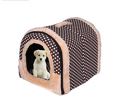 QZX Cama Suave y cálida para Perros Cama Plegable 2 en 1 para Mascotas Tejido Base
