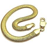 KONOV Polished Stainless Steel Snake Bracelet, Unisex Mens Womens, Color Gold