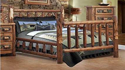 Amazon Com Chelsea Home Southern Style Queen Log Bed In Golden Oak