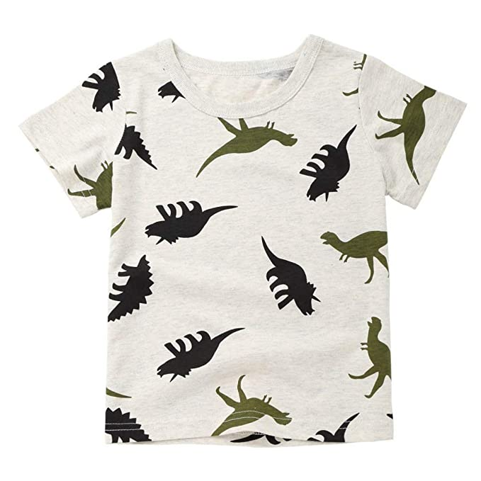 c17065149 Image Unavailable. Image not available for. Color: Children Infant Kid Boys  Cartoon Dinosaur Print Pocket T-Shirt ...
