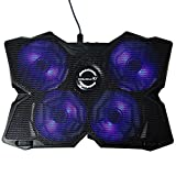 ElementDigital Laptop Cooling Pad Cooler Laptop Cooling Stand with 4 LED Fans Dual USB Ports for Macbook Alienware Dell HP Toshiba Gaming Laptops (Black)