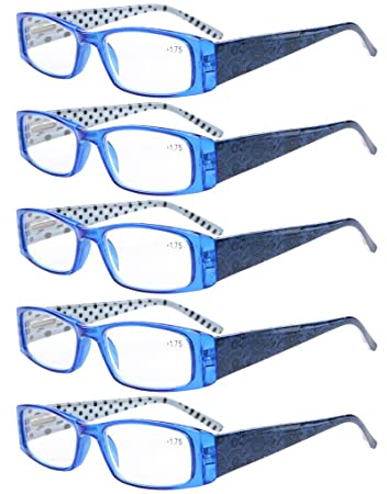a0dbc968e77 Eyekepper 5-Pack Spring Hinges Polka Dots Patterned Temples Rectangular  Reading Glasses Readers Blue +