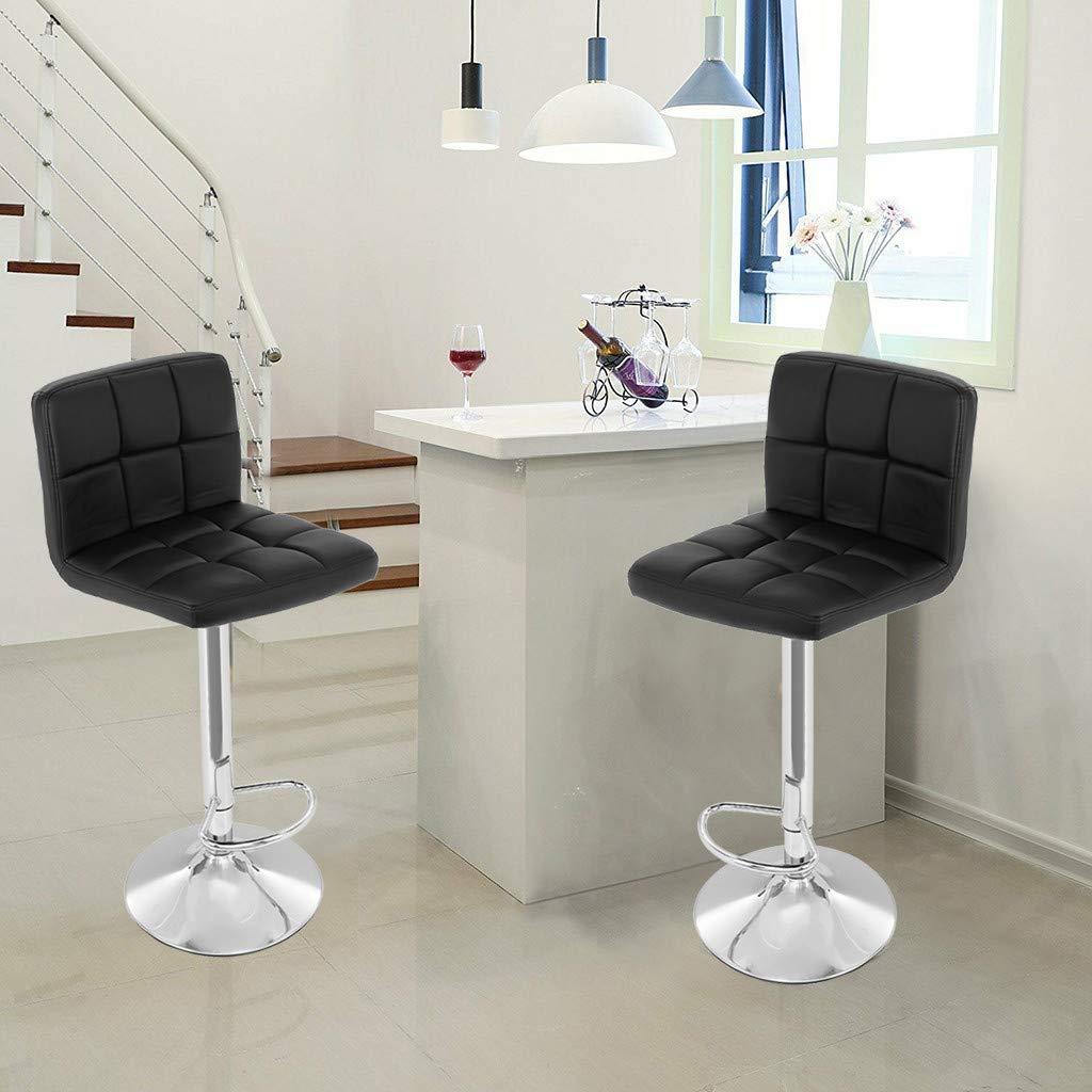 TADAMI Adjustable Bar Stools, Set of 2 Leather Bar Stools Counter Height Swivel Bar Stools Chair (Black) by TADAMI (Image #3)