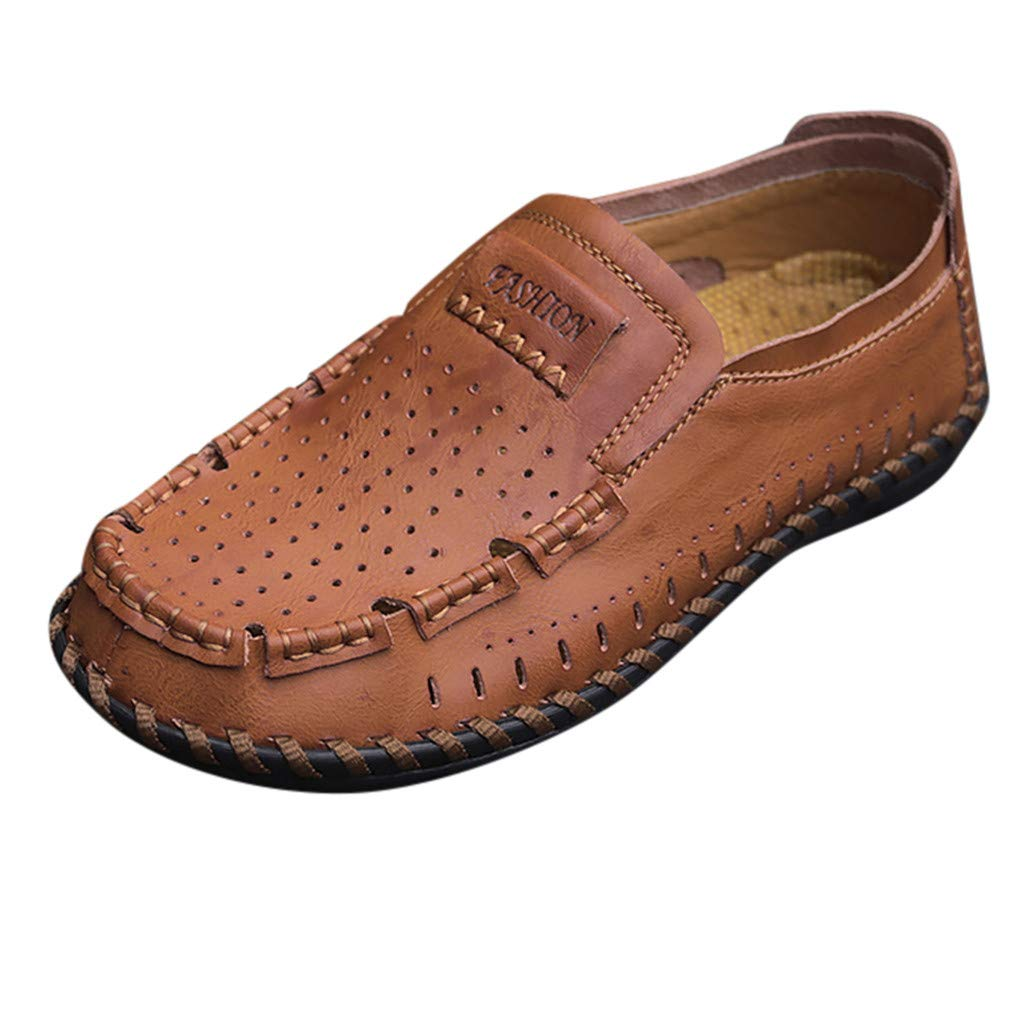〓COOlCCI〓Men's Loafers & Slip-Ons, Loafer Lightweight Slip On Driving Shoes Penny Loafers Hollow Out Flats Shoes Brown