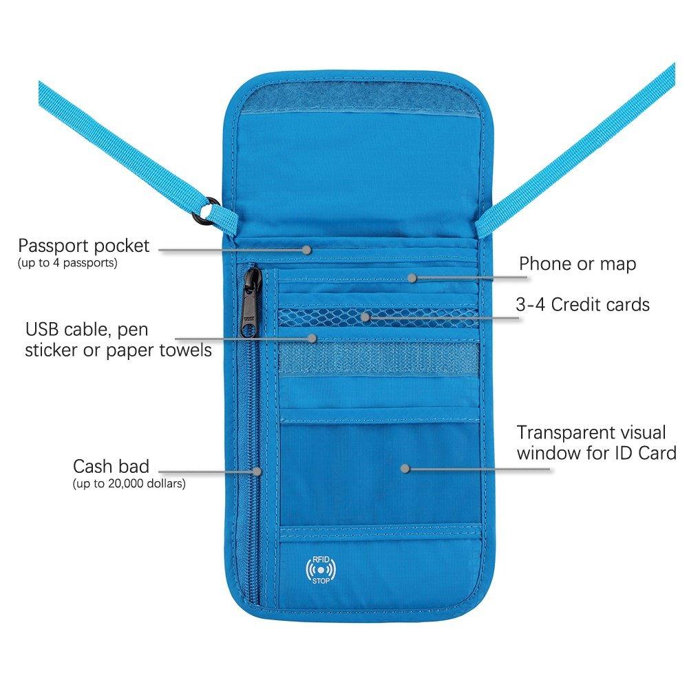 Defway Neck Travel Wallet RFID Passport Holder Waterproof Stash Pouch C001-GRE