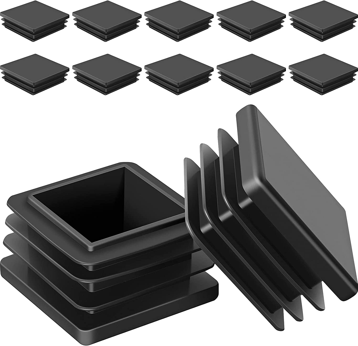 30 Pieces Square Plastic Plugs Tubing Post End Caps Chair Glide End Caps Glide Insert Pipe Covers Furniture Legs Replacement Caps for Fence Railings, Door Railing, Trailer Frame Ends (1.5 inch)
